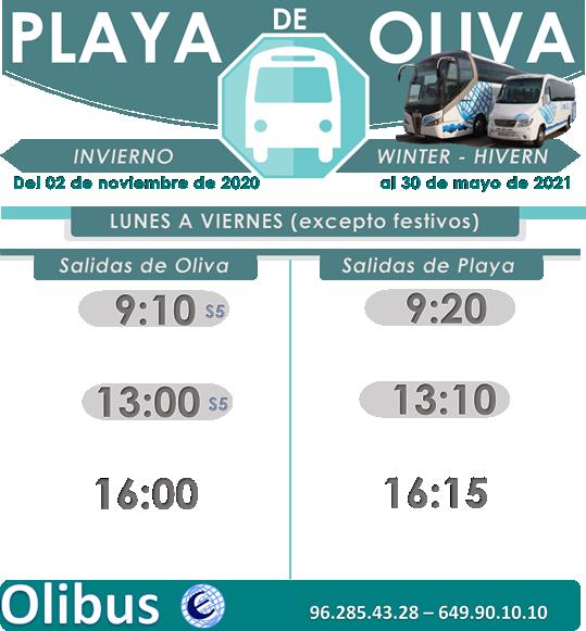 HORARIO DE INVIERNO - PLAYA DE OLIVA