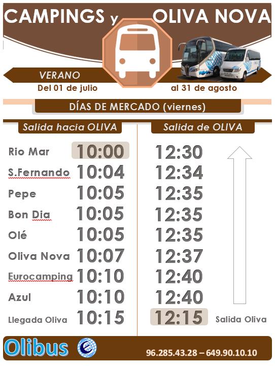 HORARIO DE VERANO - OLIVA NOVA