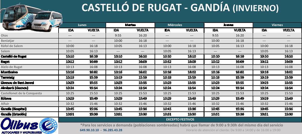 HORARIO - CASTELLÓ DE RUGAT