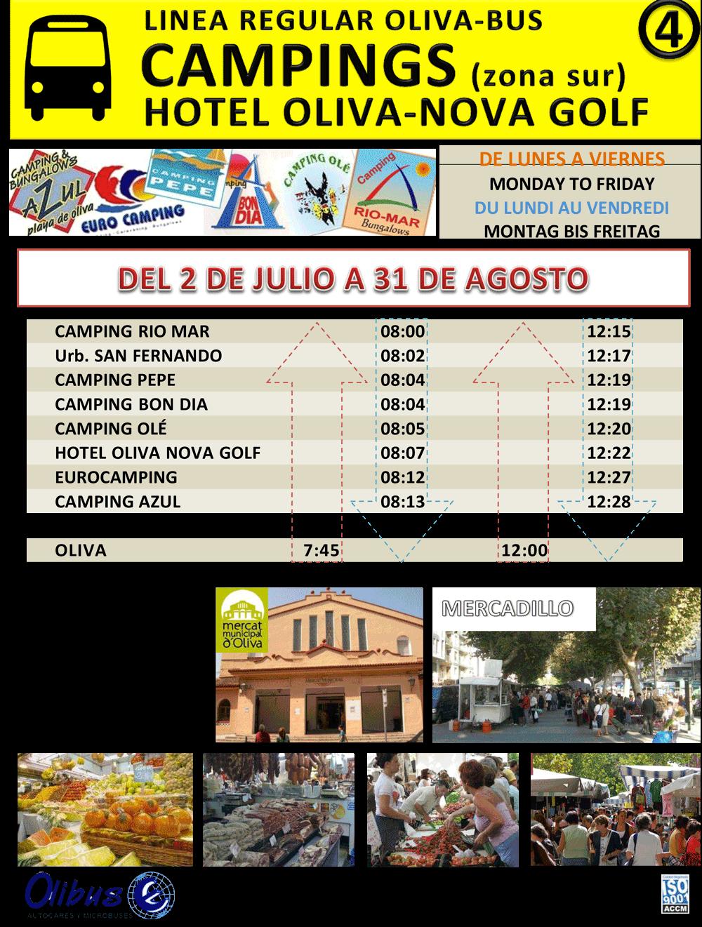 HORARIO DE ESTIU - CAMPINGS